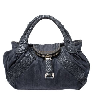 Fendi Denim Leather Hobo Bag