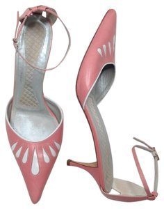 BCBGMAXAZRIA Leather Pointed Toe Ankle Strap Italian Spring Pink Pumps