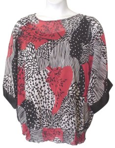 I.N. Studio Abstract Overlay Twin Set 2x Plus-size Top Red