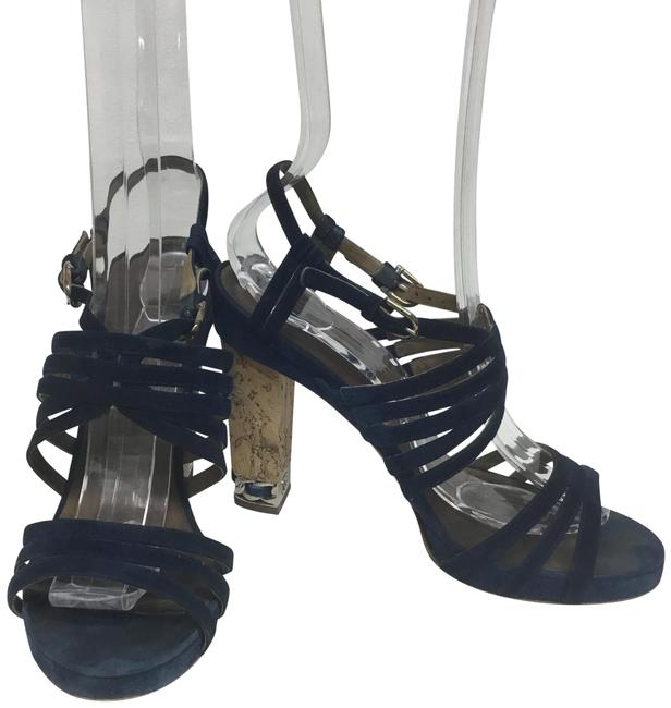 Item - Navy Suede with Cork Heel and Silver Chain and Cc Logo Sandals Size EU 37.5 (Approx. US 7.5) Regular (M, B)