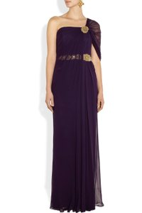 Marchesa Notte Purple Notte By Marchesa Embellished Silk-crepe Gown Dress
