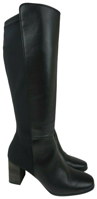 Item - Black Belmont Leather Textile Knee High Women's Boots/Booties Size US 9.5 Regular (M, B)