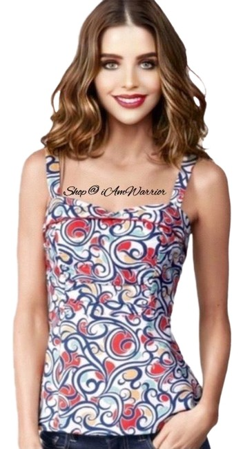 Item - Coral/Red Blue Swirl Print Tank Top/Cami Size 6 (S)
