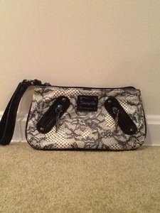 Betsey Johnson Lace Hematite Cream & Black Clutch