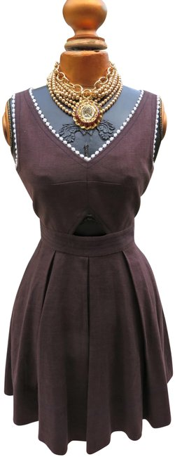 Item - Brown Mid-length Short Casual Dress Size 4 (S)