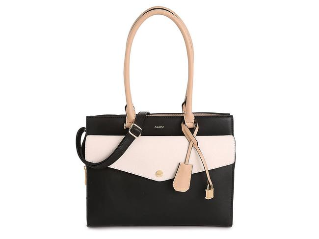 Item - Crossbody Coules Top Handle Tan Black White Faux Leather Satchel