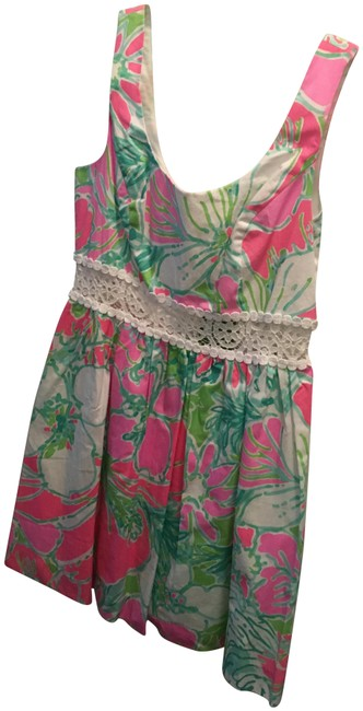 Lilly Pulitzer Multicolor Open Lace Jungle Print Mid-length Short Casual Dress Size 2 (XS) Lilly Pulitzer Multicolor Open Lace Jungle Print Mid-length Short Casual Dress Size 2 (XS) Image 1