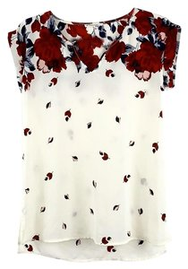 Maurices Flowers Sheer Top Red Wine, Blue, Ivory