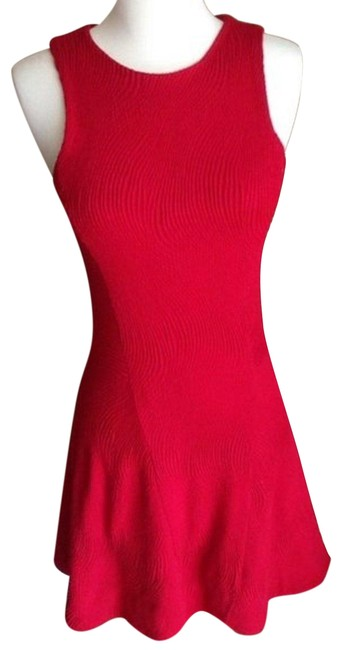 Item - Red Textured Skater Short Casual Dress Size 0 (XS)