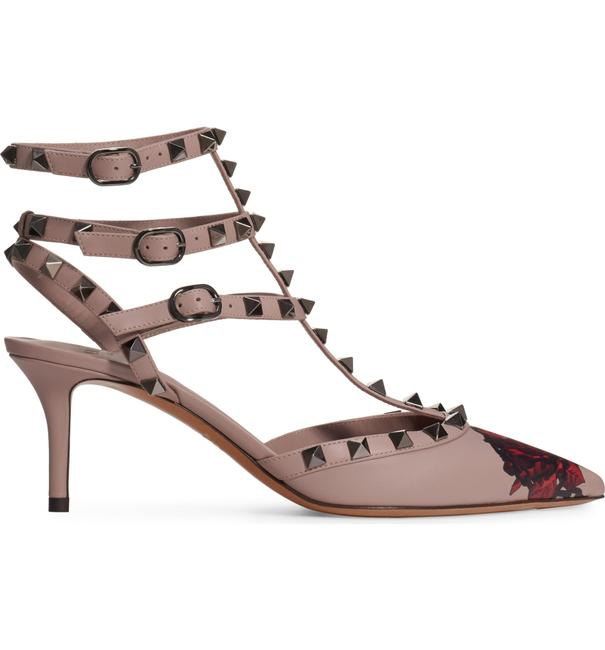 Item - Nude Rockstud Undercover Poudre Leather Red Rose Strap Kitten Heel Pumps Size EU 38 (Approx. US 8) Regular (M, B)