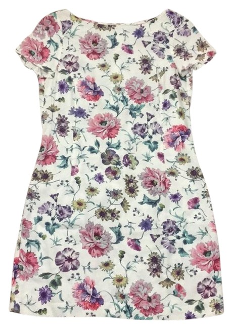 Item - White and Pink Basic Floral Short Casual Dress Size 12 (L)