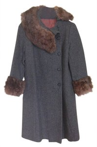 Vintage Fur-trimmed Wool Wool Overcoat Fur-trimmed Fur Trim Coat