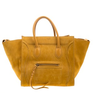 Céline Suede Leather Satchel in Yellow