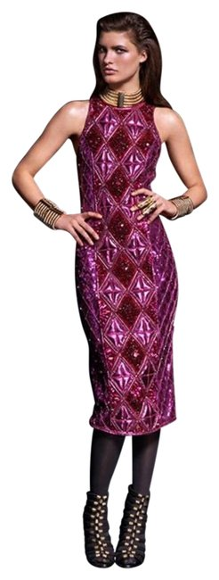 Item - Pink Beaded Sequins Mid-length Formal Dress Size 6 (S)