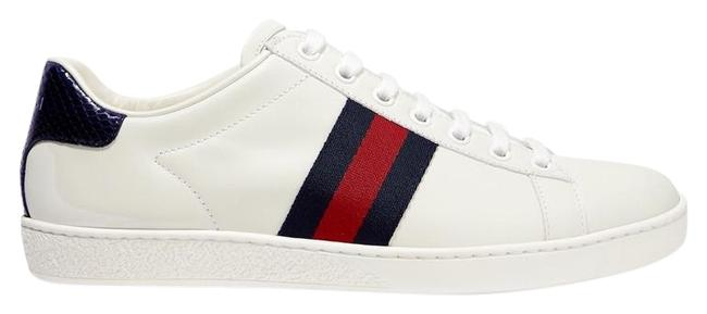 Item - White Ace Watersnake and Canvas-trimmed Leather Sneakers Size EU 37.5 (Approx. US 7.5) Regular (M, B)