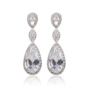 Long Zircon Crystal Bridal Earrings Cubic Zirconia Teardrop Earrings