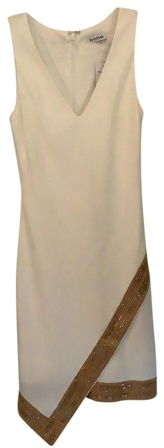 Item - Off-white with Gold Embellishments Embellished Asym Detail Short Cocktail Dress Size 0 (XS)