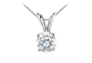 LoveBrightJewelry White Round Cz Solitaire Pendant In Rhodium Plating 925 Sterling Silver 1 Carat Triple Aaa+ Quality Necklace