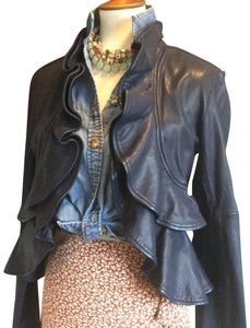 Marissa Webb Ruffle Evening Blue Leather Jacket