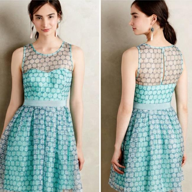 Item - Blue Anthropologie Chasia Mid-length Cocktail Dress Size 14 (L)