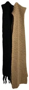Mixit 2 pc 8ft Long hand knit black & Creme brown scarf