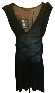 BCBGMAXAZRIA short dress Black Fine Silk Knit New With Tags Rib Knit Tunic Or Mini Long Belt on Tradesy