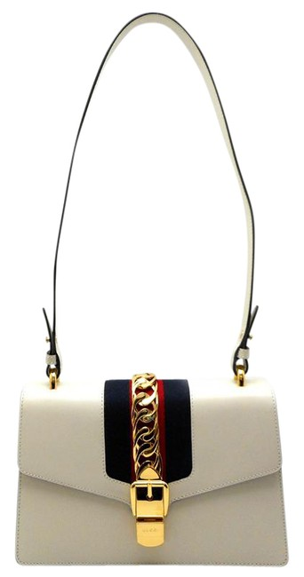 Item - Sylvie Small Ladies 421882 Dh56181 White Leather Shoulder Bag