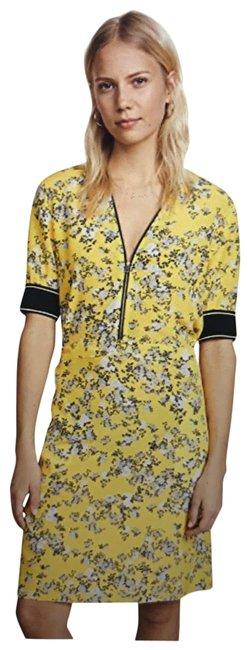 Item - Yellow Floral Print Cecile Tie Back Short Casual Dress Size 2 (XS)
