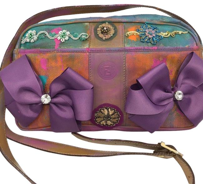 Item - Crossbody W Vintage Customized Bow Tie and Floral Applique Multicolor Canvas Tote