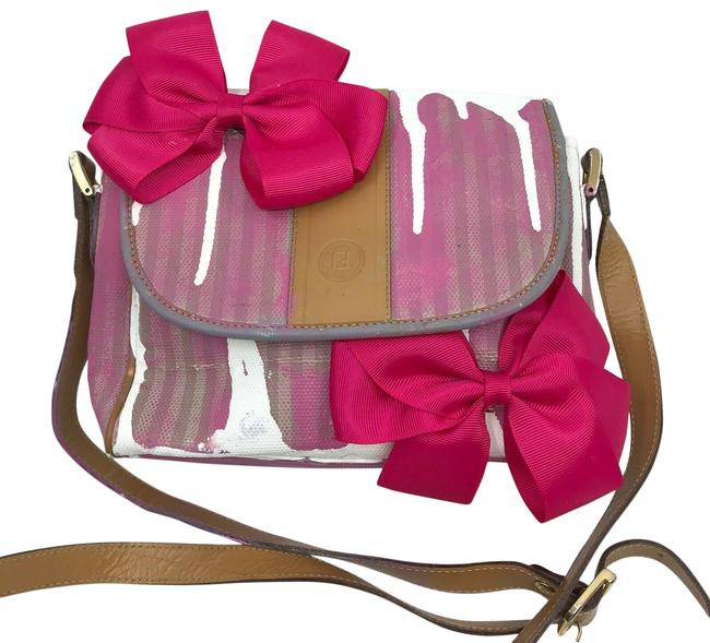 Item - Crossbody W Vintage Small Customize W/Ribbons Pink/White/Brown Canvas Tote