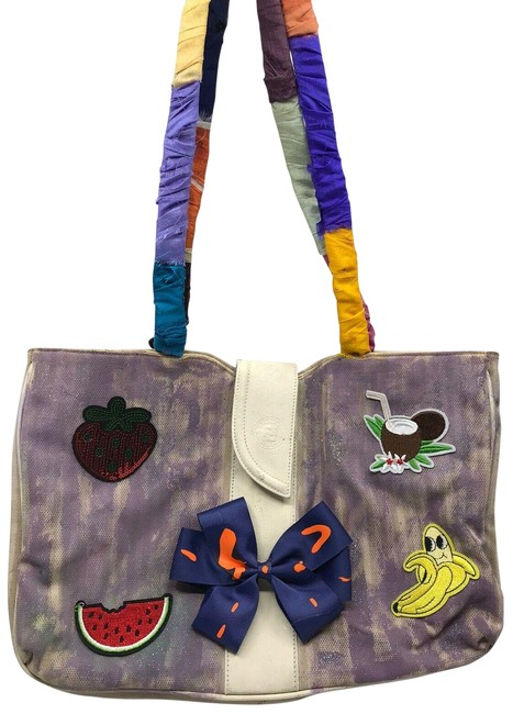 Item - Tote W Vintage Customized Bow Tie and Fruits Multicolor Canvas Shoulder Bag