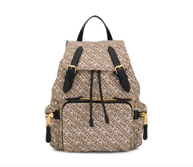 Item - Medium Rucksack In Monogram Print Nylon-beige Brown Leather Backpack