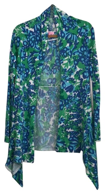 Item - Blue Green White Yellow Nwot Rare Bees In Your Bonnet Waterfall Cardigan Size 8 (M)