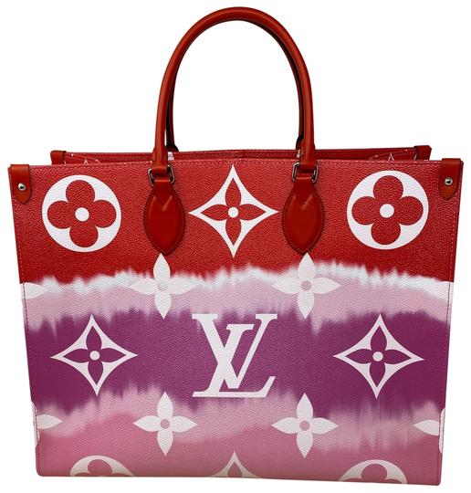 Louis Vuitton Onthego Escale Gm Rouge Red Coated Canvas Satchel Tradesy