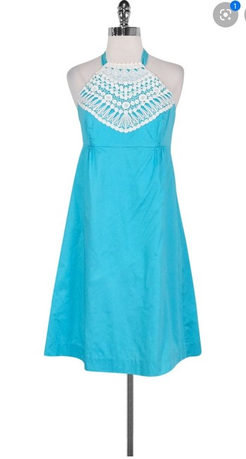 Lilly Pulitzer Turquoise Brighton Lace Halter Mid-length Short Casual Dress Size 6 (S) Lilly Pulitzer Turquoise Brighton Lace Halter Mid-length Short Casual Dress Size 6 (S) Image 1
