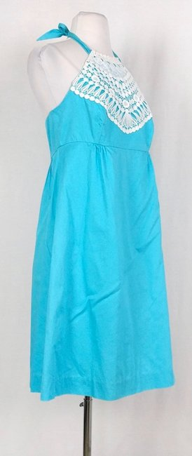 Lilly Pulitzer Turquoise Brighton Lace Halter Mid-length Short Casual Dress Size 6 (S) Lilly Pulitzer Turquoise Brighton Lace Halter Mid-length Short Casual Dress Size 6 (S) Image 2