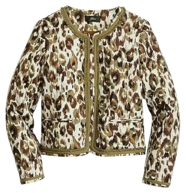 Item - Green Brown Quilted Lady Jacket Autumn Cheetah Blazer Size 4 (S)