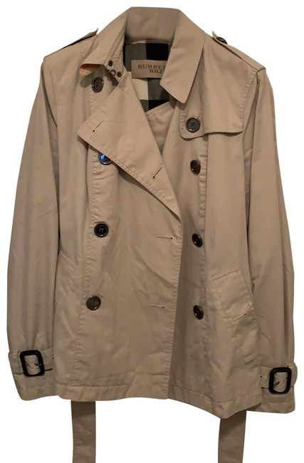 Item - Tan with Traditional Plaid Lining Jacket Size 6 (S)