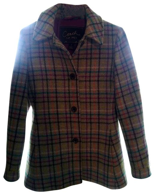 Item - Multicolor Wool Tattersall Plaid Small Coat Size 4 (S)