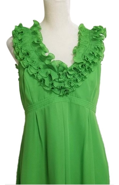 Item - Green Amber Ruffle Mid-length Cocktail Dress Size 6 (S)