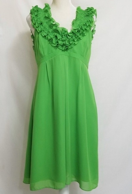Lilly Pulitzer Green Amber Ruffle Mid-length Cocktail Dress Size 6 (S) Lilly Pulitzer Green Amber Ruffle Mid-length Cocktail Dress Size 6 (S) Image 2
