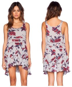 Free People short dress gray with floral print Trapeze Slip Slip Lace on Tradesy