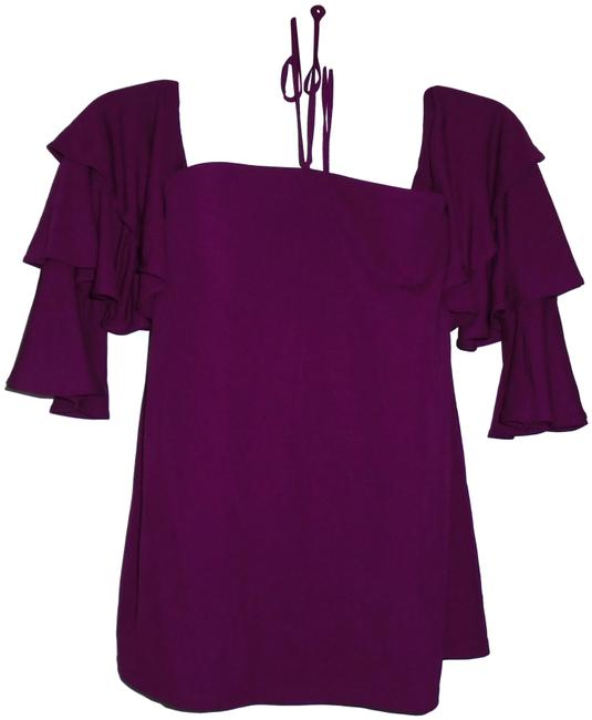 Item - Purple Halter Ruffle Blouse Size 0 (XS)