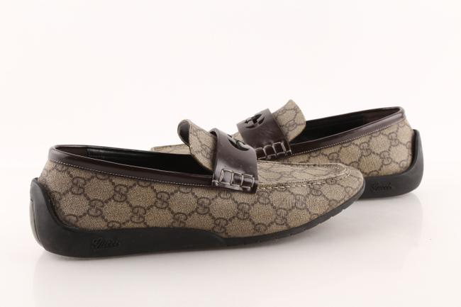 """Item - Brown Canvas Interlocking """"Gg"""" ssima Logo Loafers Shoes"""