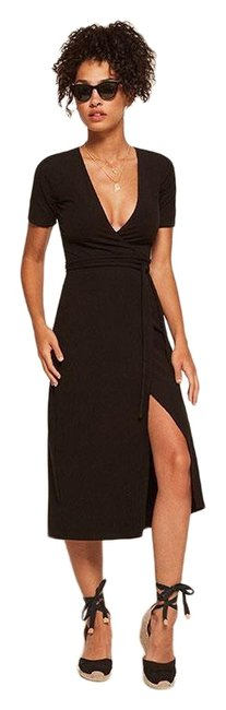 Item - Black New Britton Wrap Ribbed Mid-length Casual Maxi Dress Size 00 (XXS)