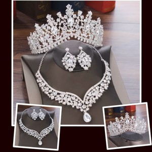 3pc Rhinestone Tiara Necklace Earring Sold As A Or Separately. Jewelry Set