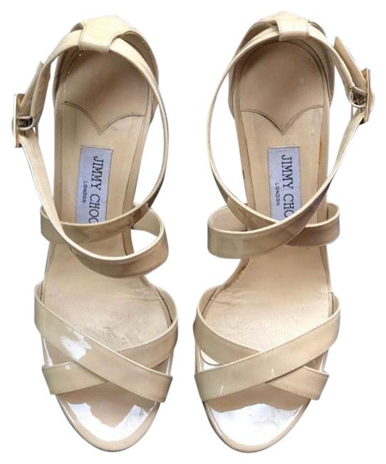 Item - Nude Beige Patent Leather Strappy Heels Formal Shoes Size US 9 Regular (M, B)