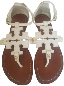 Tory Burch Phoebe Ivory Leather White Sandals