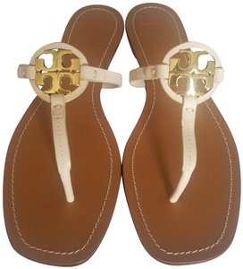 Tory Burch Miller Mini Thong Leather Beige Sandals