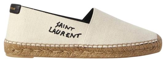 Preload https://img-static.tradesy.com/item/27136216/saint-laurent-logo-embroidered-leather-trimmed-canvas-espadrilles-flats-size-eu-375-approx-us-75-reg-0-1-540-540.jpg